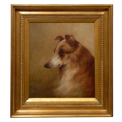 19th Century English Painting of a Rough Collie by Victorian Artist Brownlow