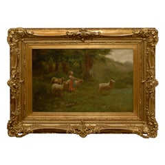 Large Antique Oil Painting of Sheep and Shepherdess in Antique Gilt Frame