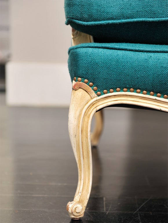 french teal linen wingback chair 3