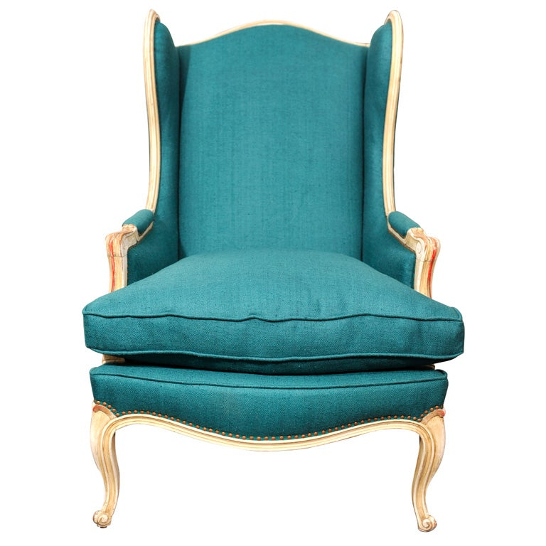 French teal linen wingback chair at 1stdibs for Teal chairs for sale