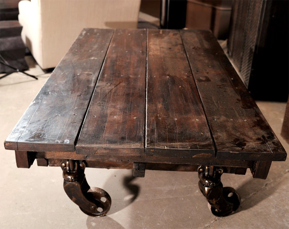 Industrial large cart on wheels with antique wood top at 1stdibs
