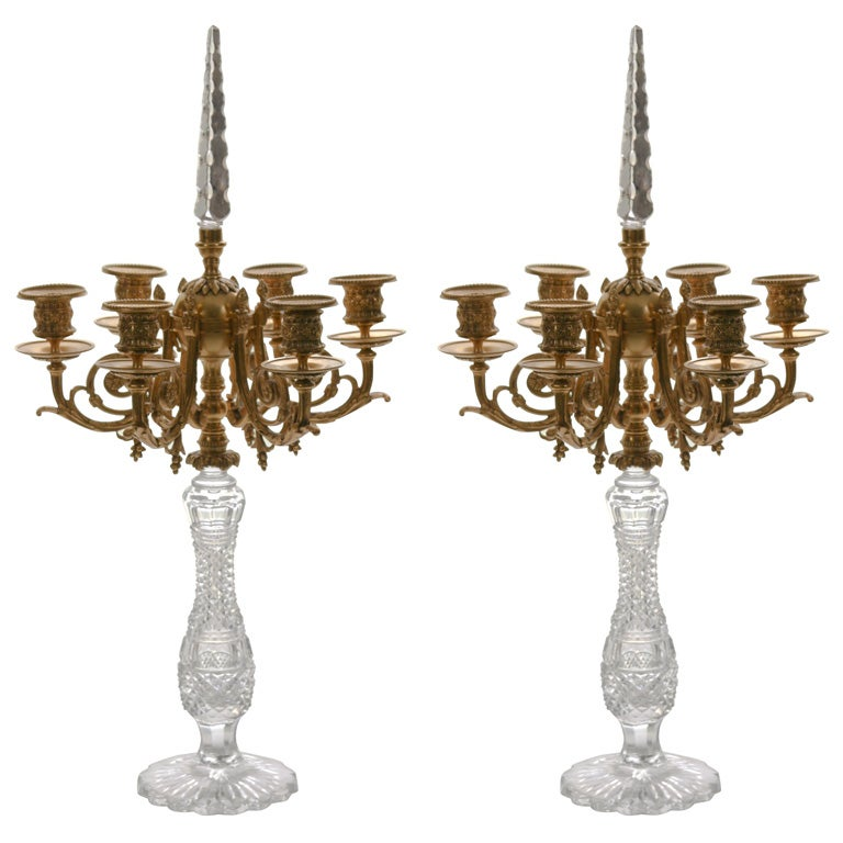 Pair of French Bronze D'ore and Cut Crystal Candelabra