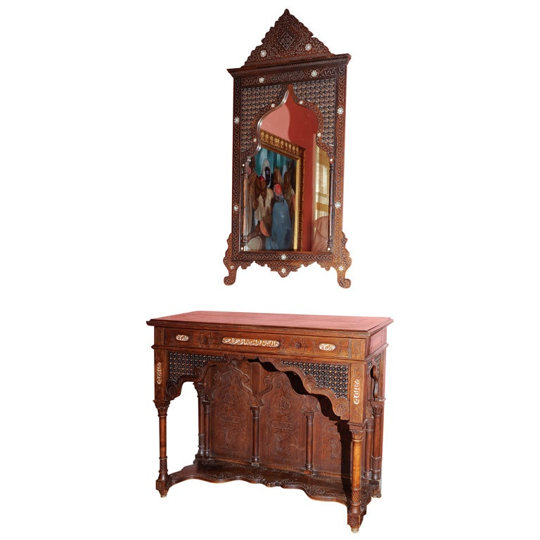 Inlaid Mirror And Console At 1stdibs