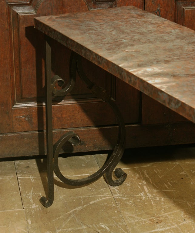 Copper Clad Top Metal Console Table At 1stdibs