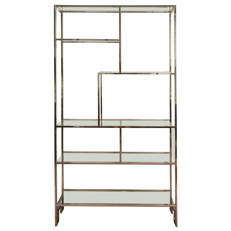 chrome and glass etagere at 1stdibs. Black Bedroom Furniture Sets. Home Design Ideas