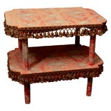 Red toile upholstered two-tier table