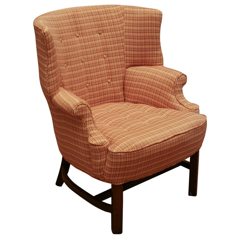 Small Scale Barrel Back Wing Chair At 1stdibs