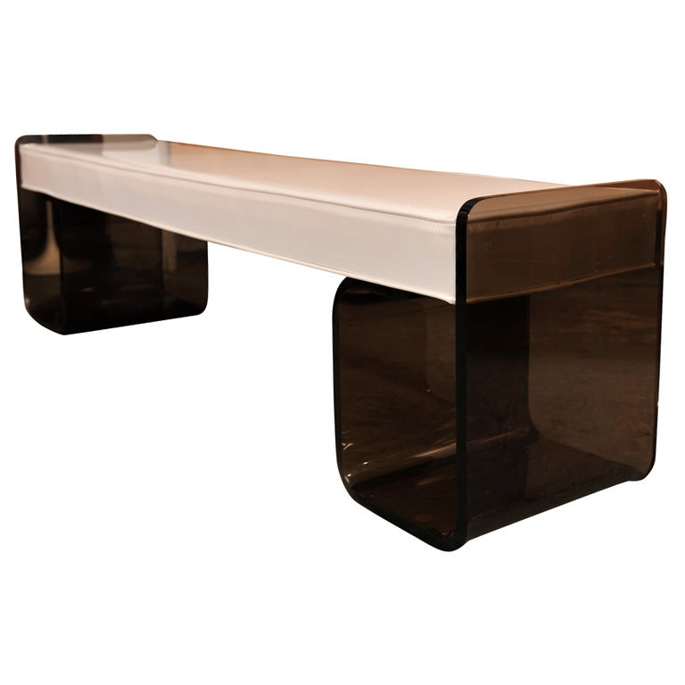 Smoked Acrylic And Vinyl Bench At 1stdibs