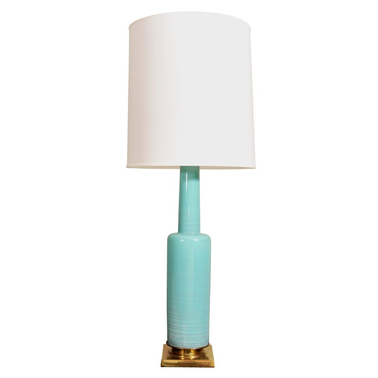 this single pale blue glass 1950 39 s lamp on brass base mfg stiffel is. Black Bedroom Furniture Sets. Home Design Ideas