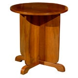 Art Deco Period Walnut Circular Side Table with Partitioned Base from the 1920s