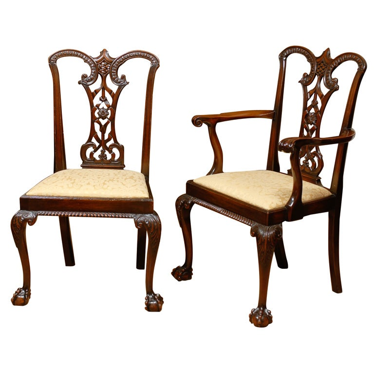 Set Gothic Chippendale Dining Chairs At 1stdibs