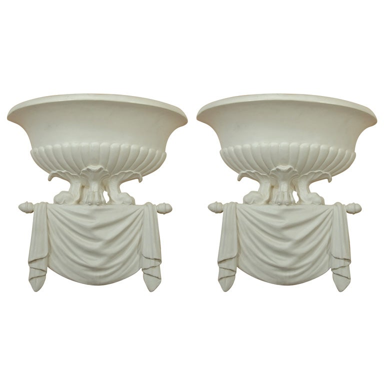 Wall Sconces Plaster : Plaster Wall Sconces in the Manner of Dorothy Draper at 1stdibs