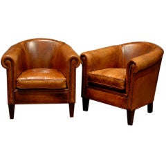 Pair of Period Art Deco Leather Club Chairs