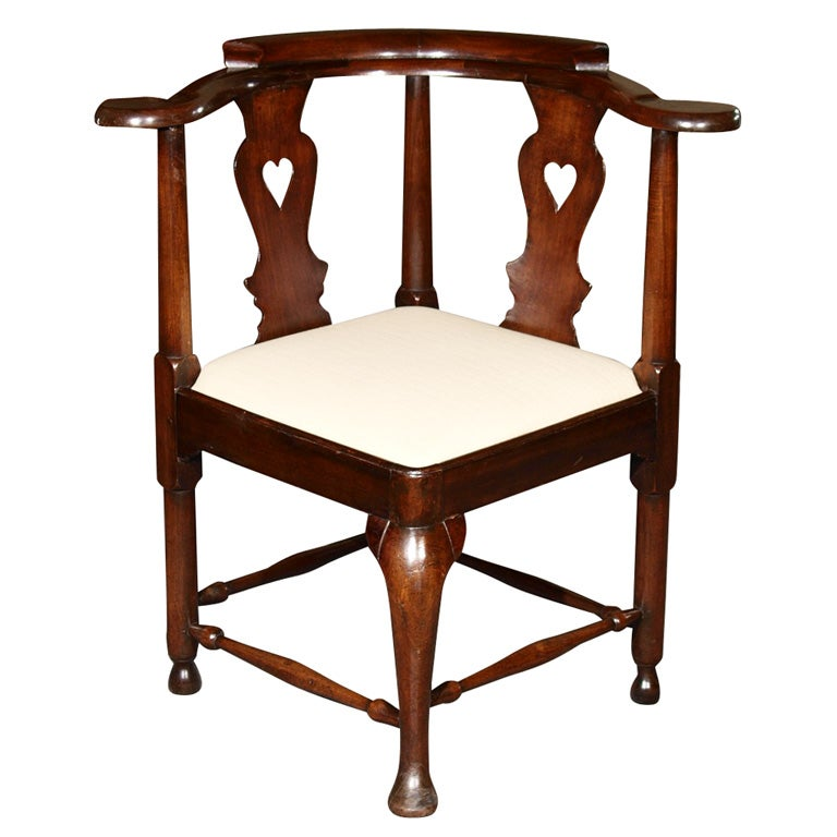 Antique English Period George Ii Mahogany Corner Chair At