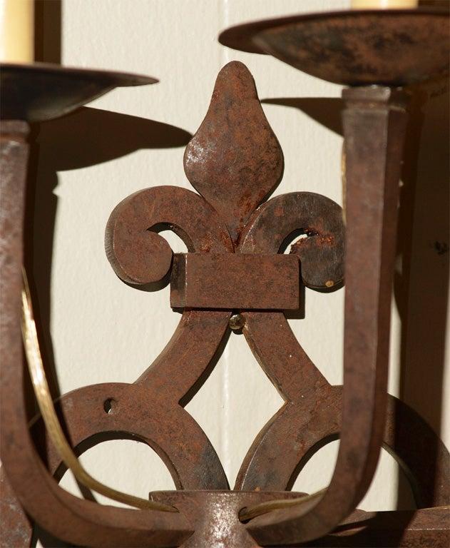 Pair Antique French Provincial Iron Fleur De Lis Sconces