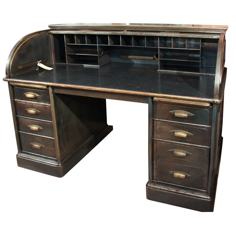 Industrial metal rolltop desk at 1stdibs