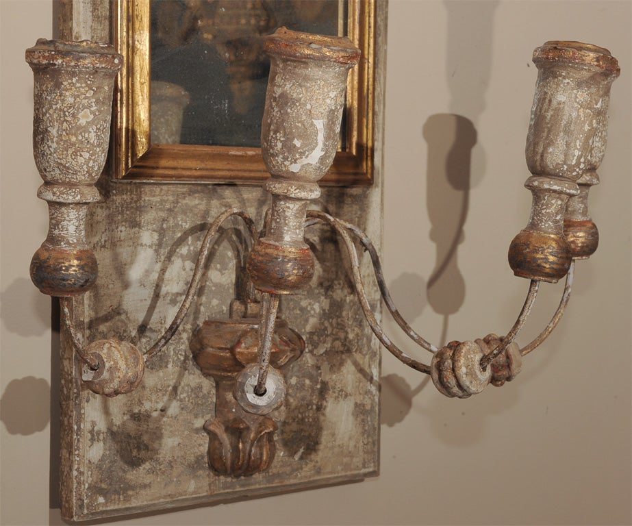 Pair of French Paint and Parcel Gilt Mirrored Wall Sconces at 1stdibs