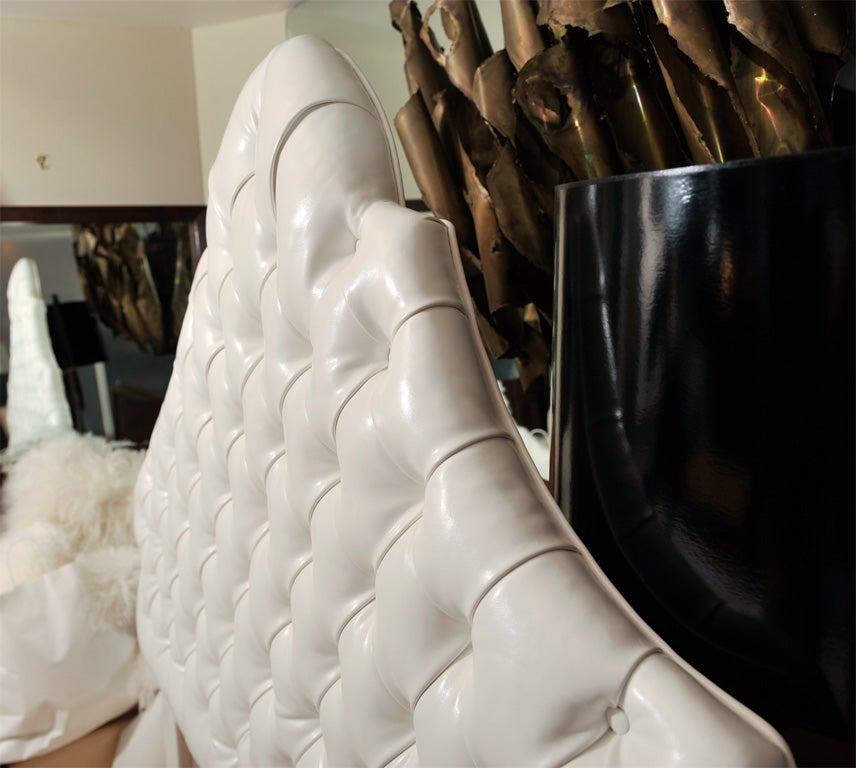 Contemporary Head Board, Ultra Leather For Sale