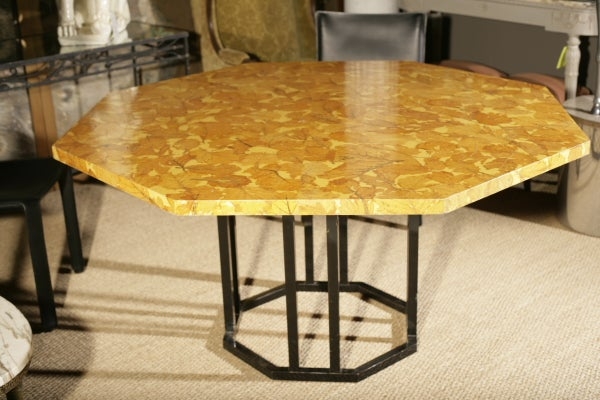 French Octagonal Dining Table W Decoupage Chestnut Leaves