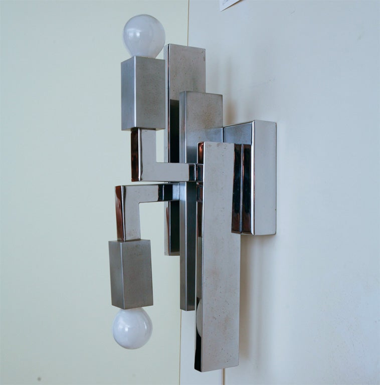 Wall Sconces Italian : Pair of Italian Modernist Sciolari Chrome Wall Sconces at 1stdibs
