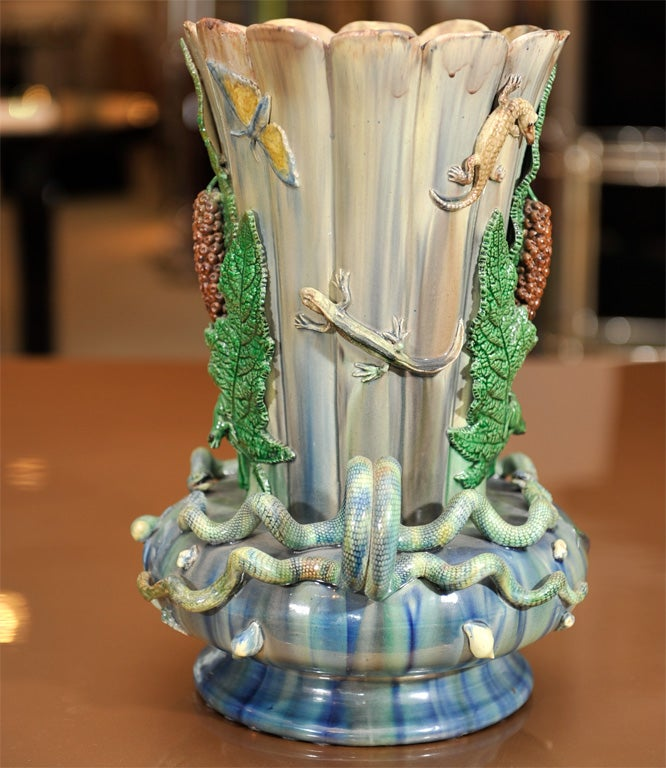 20th Century Pair of Pallissy Vases For Sale