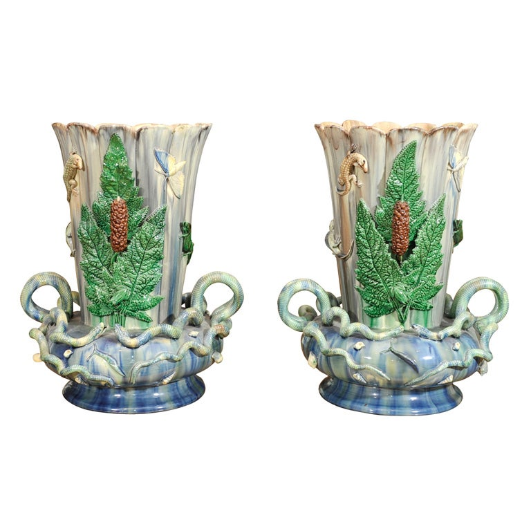 Pair of Pallissy Vases For Sale