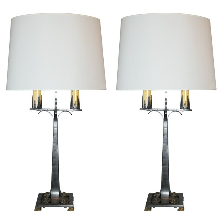 Pair of American Art Deco Table Lamps by Jules Bouy For Sale