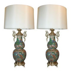 Pair of Classical Modern Ceramic and Brass Table Lamps
