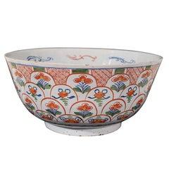 A Dutch Delft Polychrome Punch Bowl