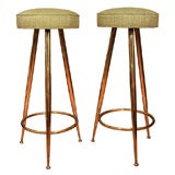 Upholstered Brass Tripod Stools