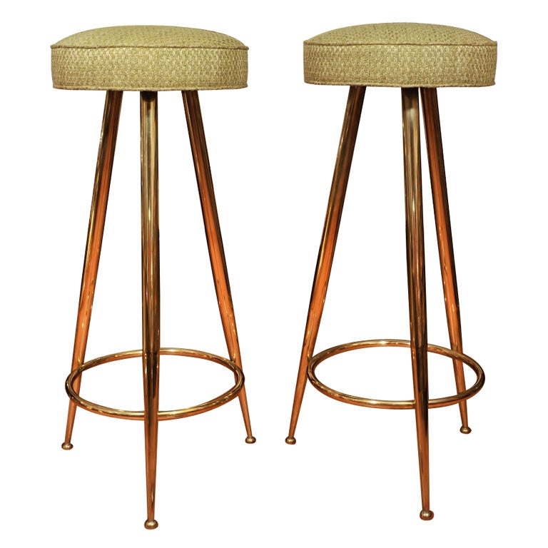 Upholstered Brass Tripod Stools