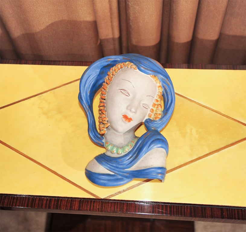 Art Deco Ceramic Mask In Excellent Condition For Sale In Oakland, CA