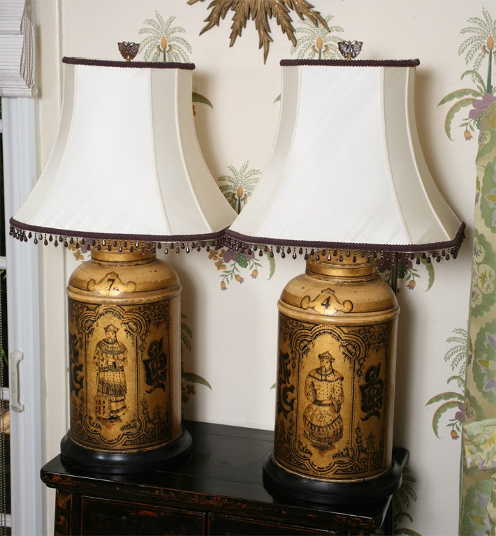 Pair of 19th Century English Toll Tea Caddy Lamps 2