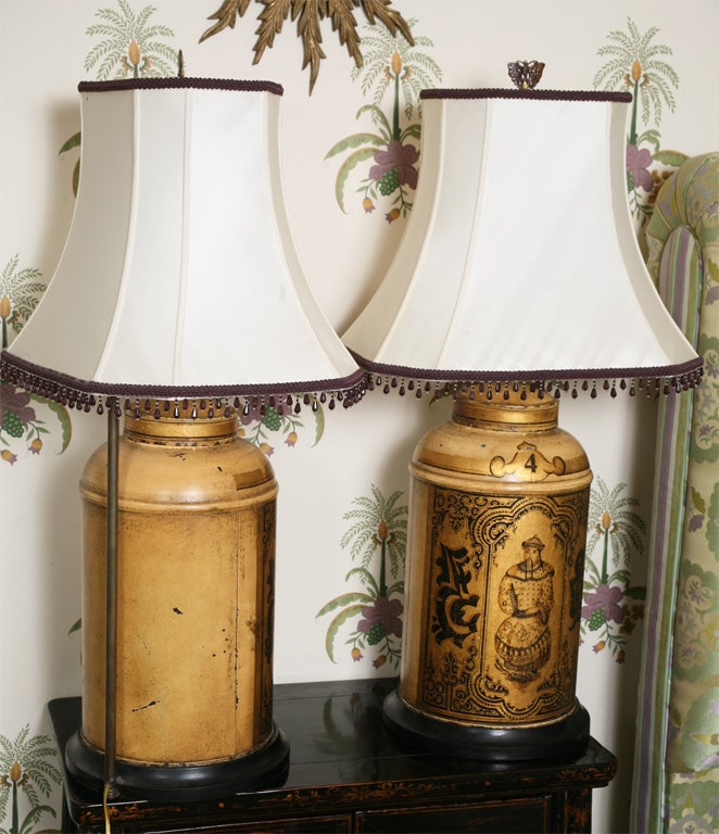 Pair of 19th Century English Toll Tea Caddy Lamps 5