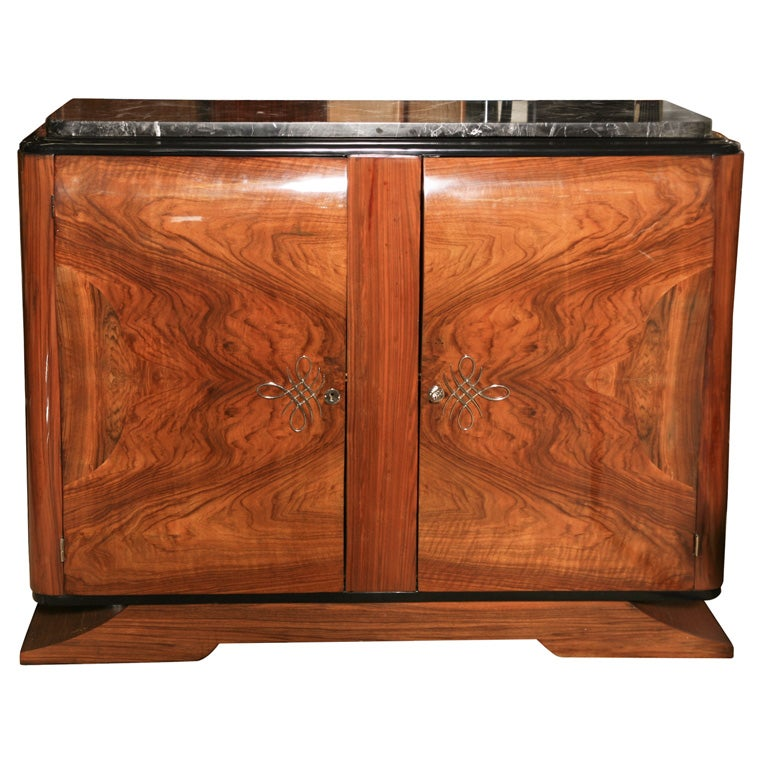 French Art Deco Bombe Exotic Walnut Buffet Sideboard At