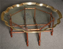 Fine Large Pie Crust Molded Brass & Glass Coffee Table thumbnail 2