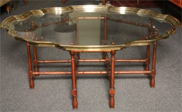 Fine Large Pie Crust Molded Brass & Glass Coffee Table thumbnail 3