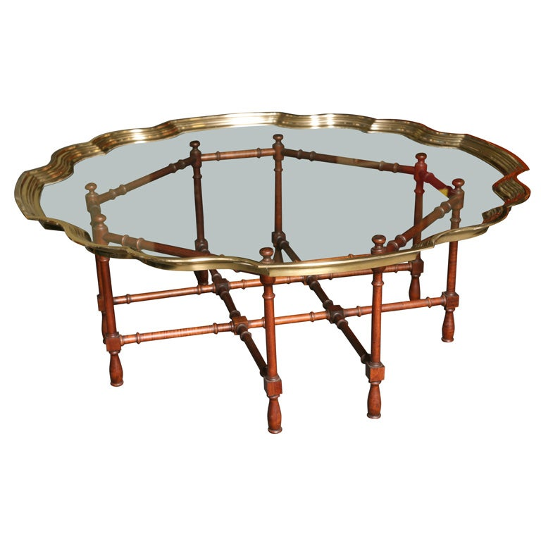 Fine Large Pie Crust Molded Brass & Glass Coffee Table