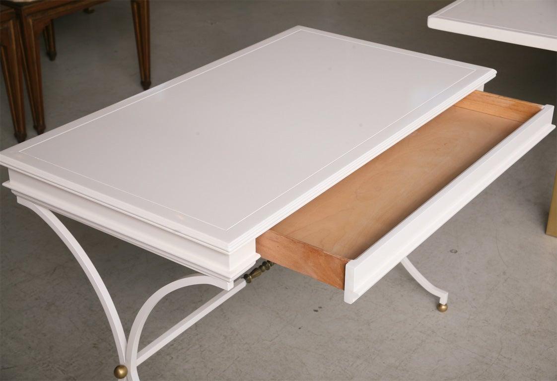 White Lacquer Desk Wrought Iron Brass Base 1stdib Marvelous Modern White Lacquer Desk