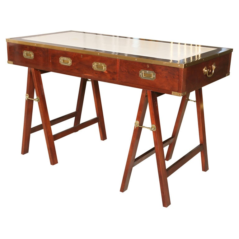 Mahogany Campaign Desk At 1stdibs