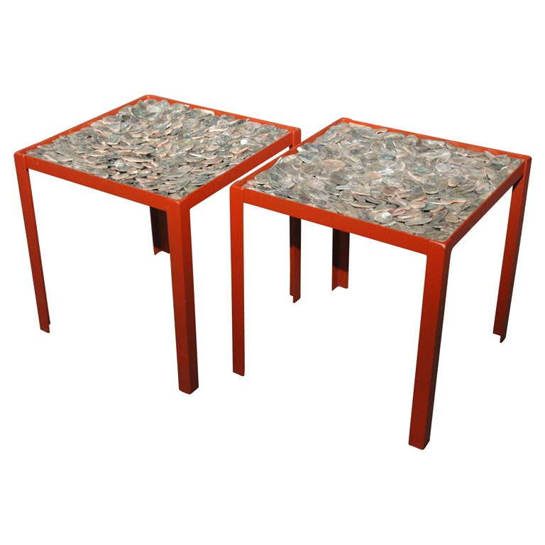 Beautiful Pair of Abalone Shell Side Tables