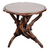19THC ROUND RUSTIC BURL ROOT TABLE