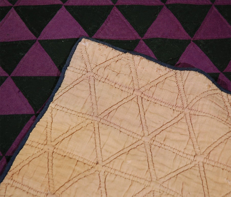 19THC MID WESTERN AMISH WOOL GEOMETRIC QUILT At 1stdibs