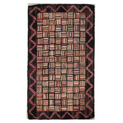 Rare Scale 1930s Mounted Hand HookEd Log Cabin Rug