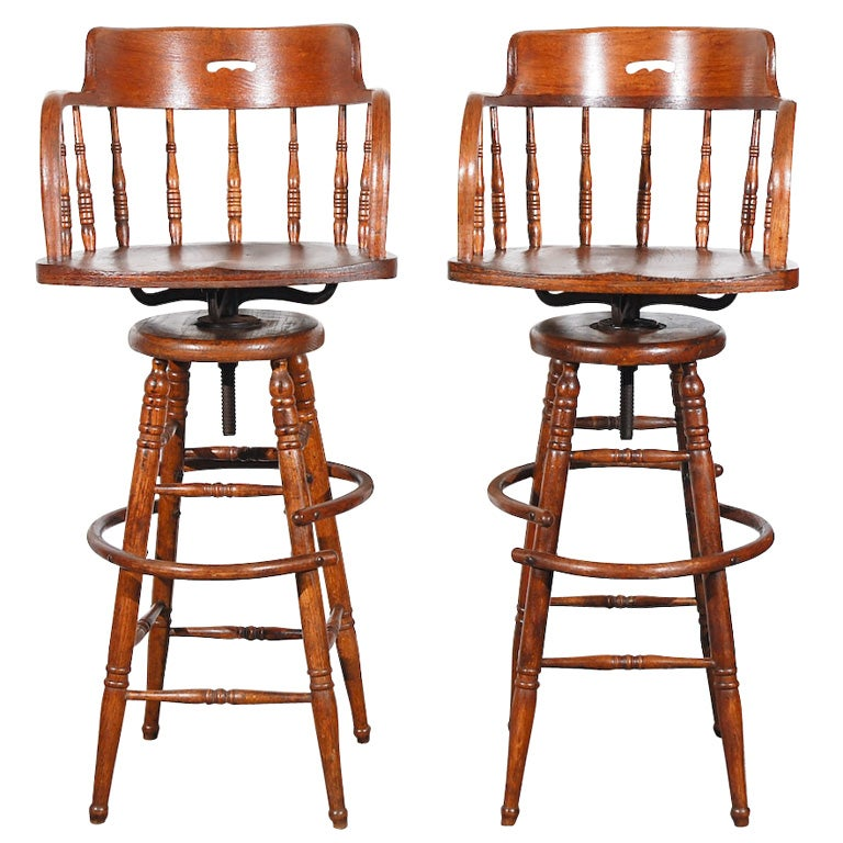 Pair Of 19thc Captains Chair Swivel Bar Stools At 1stdibs