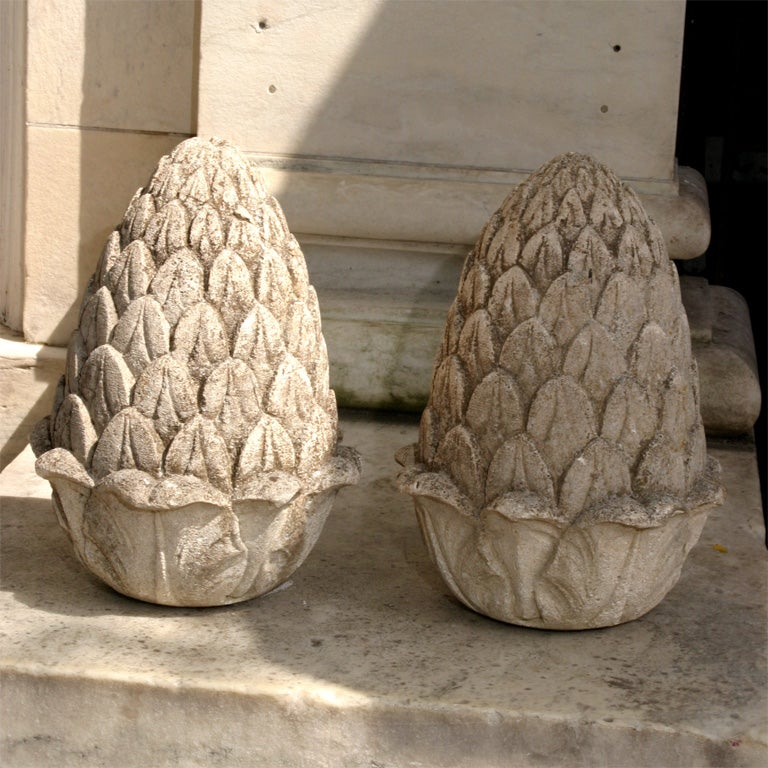 Carved Stone Artichoke Finials At 1stdibs