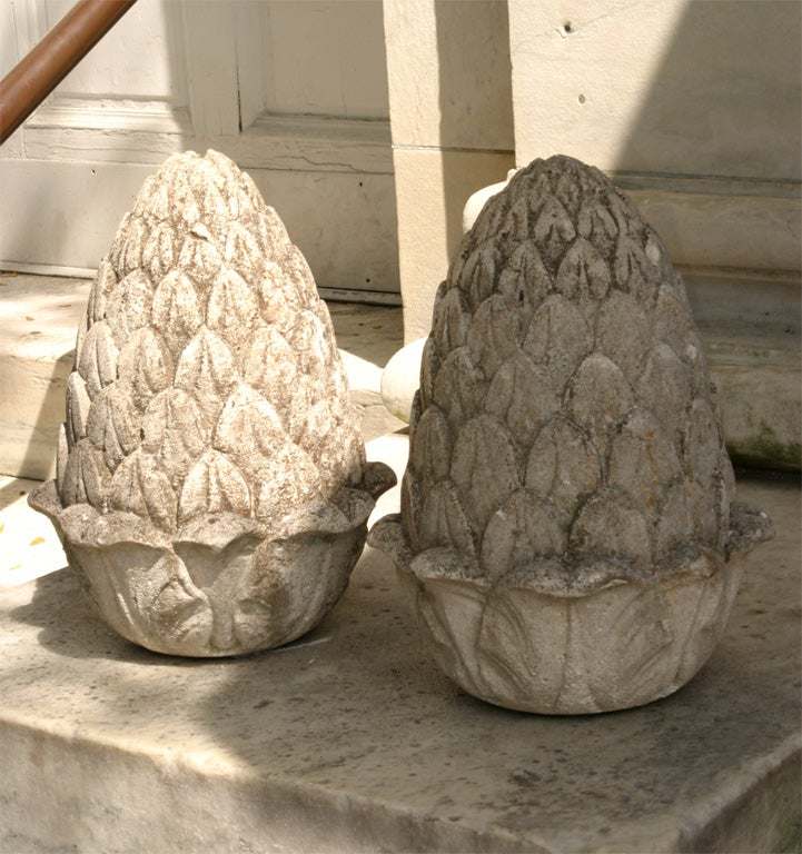 Unknown Carved Stone Artichoke Finials For Sale
