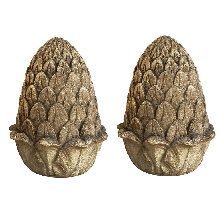 Carved Stone Artichoke Finials For Sale