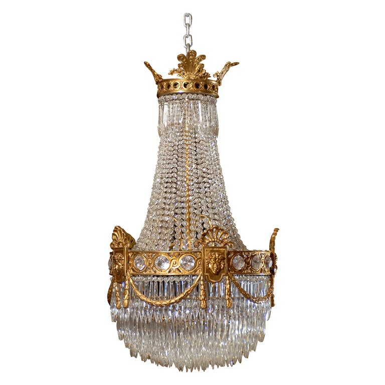 Baccarat Basket Style Antique Chandelier 1 - Baccarat Basket Style Antique Chandelier For Sale At 1stdibs