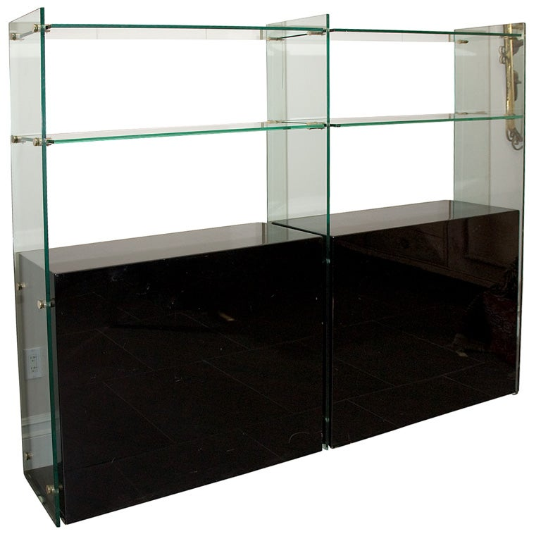 stunning two sided black lacquer etagere with glass shelves at 1stdibs. Black Bedroom Furniture Sets. Home Design Ideas